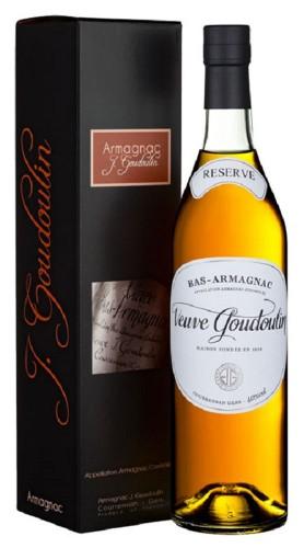 """Bas - Armagnac """"Rèserve"""" Veuve Goudoulin 70 cl Con Confezione"""