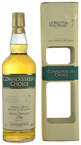 "Single Malt Scotch Whisky ""Connoisseurs Choice Braeval"" Gordon & MacPhail 1998 70 cl Astucciato"